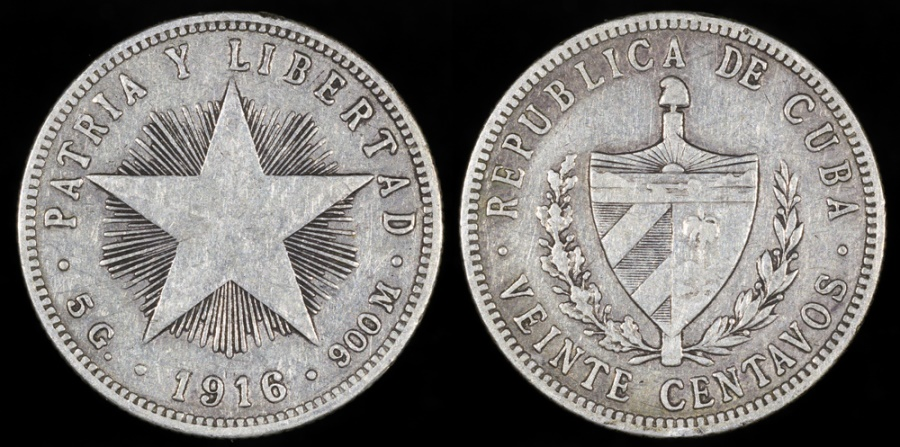 "World Coins - 1916 Cuba 20 Centavos ""Low Relief Star"" VF"