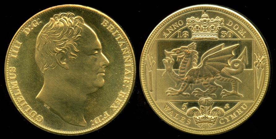 World Coins - 1830 Wales 5 Shillings, Gulielnus IIII - Medallic Issue (2007), Brass UNC