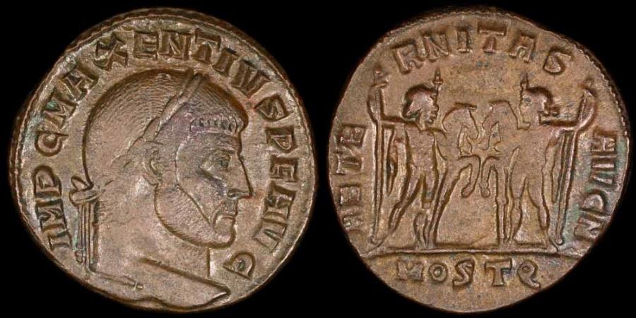Ancient Coins - Maxentius Follis - AETERNITAS AVG N - Ostia Mint