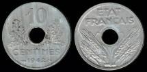 World Coins - 1942 France 10 Centimes AU