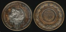 World Coins - 1887 France – Horse Breeding Competition Award Medal