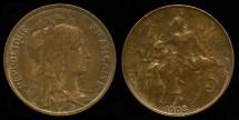 World Coins - 1908 France 5 Centimes UNC
