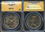 """World Coins - 1960 Great Britain Crown """"British Exhibition in New York"""" - ANACS MS62 - Looks Proof-like"""
