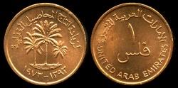 """World Coins - 1973 United Arab Emirate 1 Fil - FAO """"Date Palms"""" - BU"""