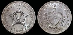 World Coins - 1946 Cuba 5 Centavos - 1st Republic - AU