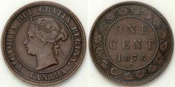 World Coins - 1876 H Canada 1 Cent - Victoria - XF Bronze