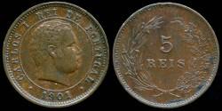 World Coins - 1901 Portugal 5 Reis AU