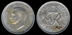 World Coins - 1952 Great Britain 6 Pence UNC