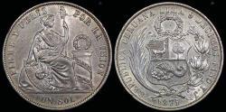 World Coins - 1871 Y.J Peru 1 Sol UNC