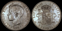 """World Coins - 1876 (76) Spain 5 Pesetas - """"Alfonso XII"""" - XF"""