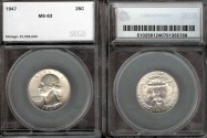 Us Coins - 1947 Washington Quarter SEGS MS63