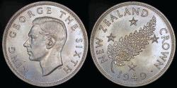 """World Coins - 1949 New Zealand Crown """"Proposed Royal Visit Silver Commemorative"""" BU"""