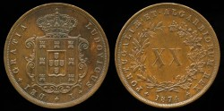 World Coins - 1874 Portugal 20 Reis AU