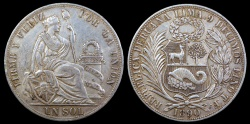 World Coins - 1890 TF Peru 1 Sol AU