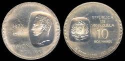 World Coins - 1973 Venezuela 10 Bolivares BU