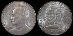 "World Coins - 1953 Cuba 25 Centavos ""Birth of Jose Marti Centennial"" Silver Commemorative UNC"