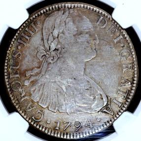 World Coins - 1794 FM Mo Mexico 8 Reales (Carolus IIII) NGC XF40