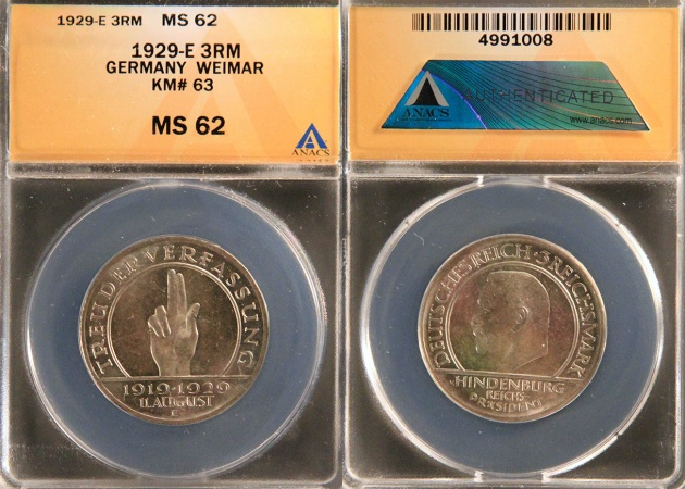 """World Coins - 1929 E Weimar Republic 3 Reichsmark """"10th Anniversary of the Weimar Constitution"""" Silver Commemorative"""" ANACS MS62"""