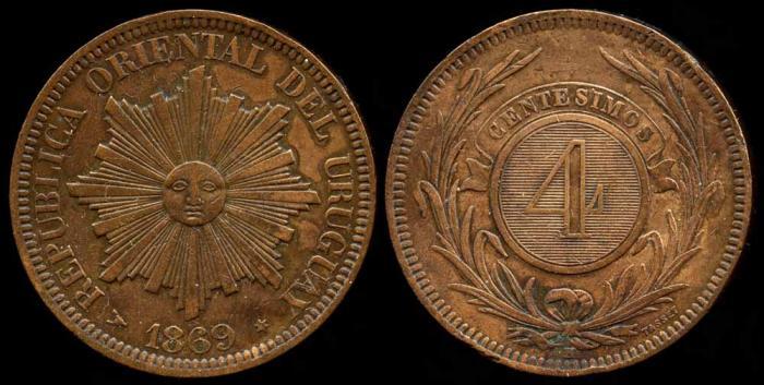 World Coins - 1869 H Uruguay 4 Centesimos AU