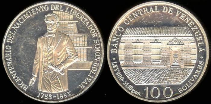 World Coins 1983 W Venezuela 100 Bolivares 200th Anniversary Birth Of