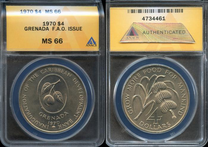 World Coins - 1970 Grenada 4 Dollars - F.A.O. Issue - ANACS MS66 (only 13,000 Struck)