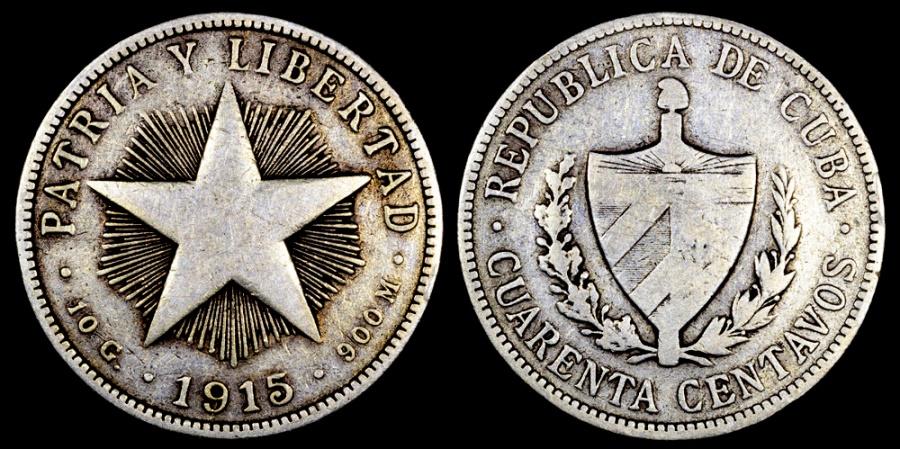 World Coins - 1915 Cuba 40 Centavos - 1st Republic - VF