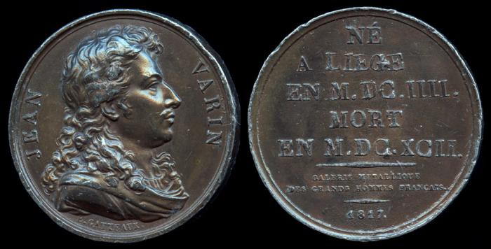 World Coins - 1817 France – Jean Varin (French sculptor and engraver who made important innovations in the process of minting coins) by Jacques-Édouard Gatteaux