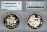 World Coins - 1973 FM Barbados 10 Dollars SEGS PR69 Silver
