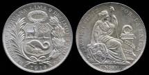 World Coins - 1914 FG Peru 1 Sol BU