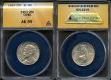 """World Coins - 1953 Cuba 25 Centavos - """"Birth of Jose Marti Centennial"""" Silver - ANACS AU55"""