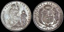 World Coins - 1913 FG Peru 1/5 Sol - Republic Coinage - UNC