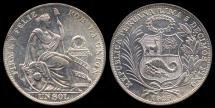 World Coins - 1935 Peru 1 Sol UNC
