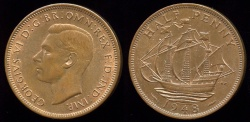 World Coins - 1948 Great Britain 1/2 Penny BU