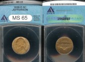 Us Coins - 1938 D Jefferson Nickel ANACS MS65