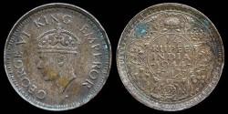 World Coins - 1944 B India (British) 1/4 Rupee AU