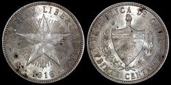 "World Coins - 1916 Cuba 20 Centavos - ""Low Relief Star"" - AU"