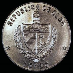 World Coins - 1985 Cuba 1 Peso - Cuban Rock Iguana - Wildlife Preservation - BU (Only 3,000 Pieces Were Struck)