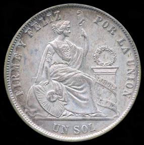 World Coins - 1869 YB Peru 1 Sol UNC