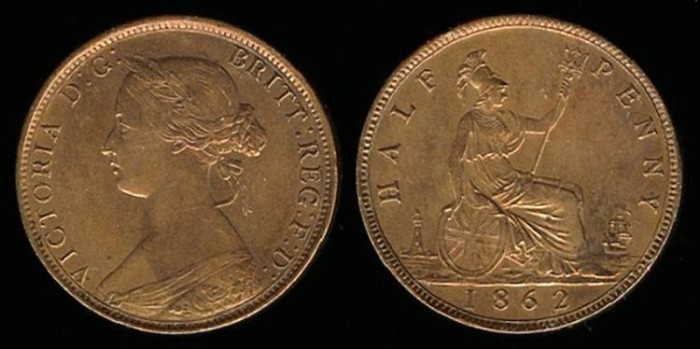 World Coins - 1862 Great Britain 1/2 Penny UNC