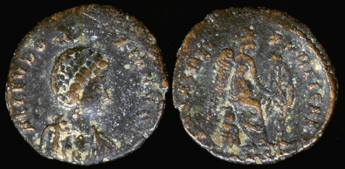 Ancient Coins - Aelia Eudoxia Ae3 - SALVS REIPVBLICAE - Cyzicus Mint