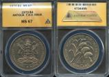 World Coins - 1970 Antigua 4 Dollars - F.A.O. Issue - ANACS MS67 (Only 14,000 Struck)