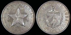 World Coins - 1933 Cuba 1 Peso - Star Peso - AU