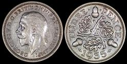 World Coins - 1935 Great Britain 3 Pence - George V - AU