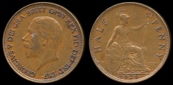 World Coins - 1929 Great Britain 1/2 Penny AU
