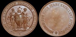 World Coins - 1907  Great Britain - City of Birmingham Education Committee Excellent Attendance Award Medal by Vaughton Firm in Birmingham
