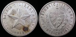 "World Coins - 1916 Cuba 20 Centavos ""Low Relief Star"" AU"