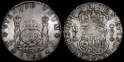World Coins - 1763 MoMM Mexico 8 Real - Mexico City Mint - Charles III - XF