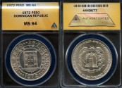 World Coins - 1972 Dominican Republic 1 Peso - 25th Anniversary of the Central Bank Silver Commemorative ANACS MS64 - 2nd Highest Graded by ANACS!