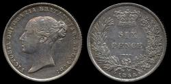 World Coins - 1855 Great Britain 6 Pence XF