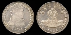 World Coins - 1838 LM-PTS Bolivia 8 Soles AU
